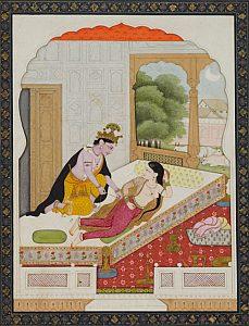 Krishna entkleidet Radha, Illustration zu einem Lied, Indien, Pahari-Gebiet, Kangra, 1825-1830 © Museum Rietberg Zürich, Geschenk Sammlung Horst
