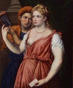 Paris Bordone (1500-1571) Junge Dame mit Spiegel und Magd, um 1535